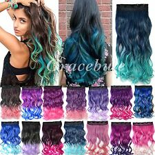 "Women's Curly Hair Extension Clip in 18"" Long Wavy Synthetic Gradient Ramp Hot"