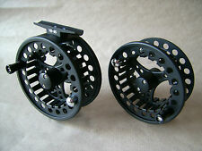 NEW BLACK LARGE ARBOR ALUMINIUM FLY REEL OR SPOOLS FOR LINE SIZES 3/4,5/6 OR 7/8
