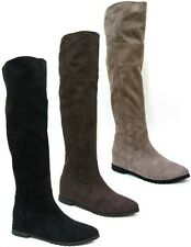 *SALE* LADIES SPOT ON KNEE HIGH FLAT CASUAL BOOTS IN TAUPE, BROWN & BLACK F4366