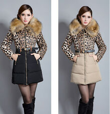 Winter Women Warm Faux Fur Collar Down Jacket Cotton Padded Parka Coat With Belt