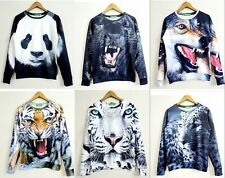 2014 New Spring 3D Animals Round Neck Sweatshirt,The tiger,wolf,Panda,Leopard