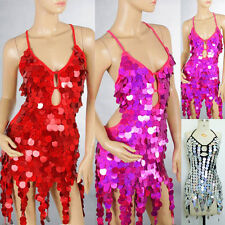 HOT Ballroom Cocktail Club Party Show Girl Latin Dance Performance Sequins Dress