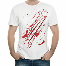 NEW - WOLF ATTACK - Men's Top Quality White Cotton T-Shirt - Gift Present Funny