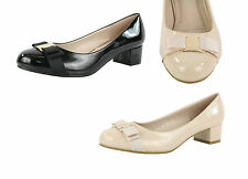 S366 - Ladies Low Heeled Metal Buckle & Ribbon Court Office Shoes - UK 3 - 8
