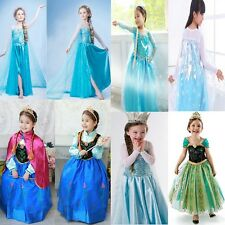 New Frozen Princess Girls Elsa Anna Cosplay Clothes Make Up Party Fancy Dresses