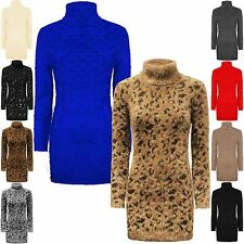 LADIES WOMENS LONG POLO NECK WARM JUMPER SOFT STRETCHY MOHAIR FLUFFY DRESS 8-16