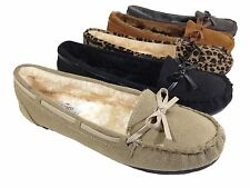 Women Fur Lined Moccasin Shoe Suede Rubber Sole Slipper Winter Flats Slip On FY3