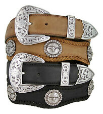 The Silver Laredo - Western Longhorn Berry Genuine Leather Scalloped Belt, 1-1/2