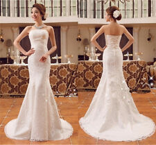 Cheap Wedding Dress Strapless Lace-Up Sexy Lace Mermaid Sweep Train  Bridal Gown