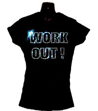 WORK OUT LADIES FITTED SHIRT CRYSTAL DESIGN  gym training fitness  ALL SIZES