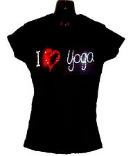 I LOVE YOGA LADIES SHIRT CRYSTAL DESIGN gym training fitness  ALL SIZES