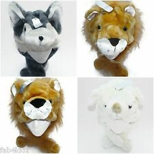 girls boys kids adults plush faux fur animal trapper hat scarf dog bear lion NEW