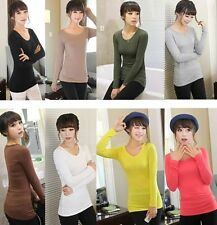Women's Round Neck Long Sleeve Slim Fit Soft Comfy T-shirts Tees Tops Undershirt