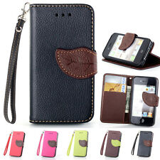 Luxury Glossy Leather Magnetic Flip Wallet Card Case Cover For iPhone 4 4S 5 5S