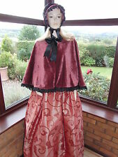 VICTORIAN GENTRY 3 PIECE COSTUME - FANCY DRESS SZ 12-16 (Burgundy Velvet)