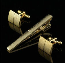New Gold/Silver Mens Wedding Party gift Crystal Cufflinks Tie Clip Pin Clasp Bar