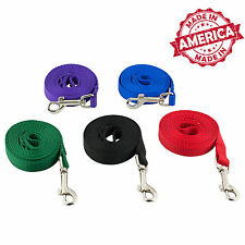 """Nylon Dog Leash Pet Training Leads 1/2"""" & 5/8"""" many Colors & Lengths Made in USA"""