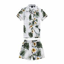 Boy Toddler Aloha Shirt Set Shorts Beach Hawaii Cruise Luau Cotton White Panel