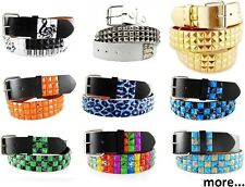 Unisex 3-Rows Metal Pyramid Studded Leather Belt Mens Womens Punk Rock Goth Emo