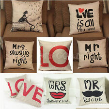Mrs/Mr Right Throw Pillow Case Linen Cotton Home Decor Cushion Cover Lover Gift