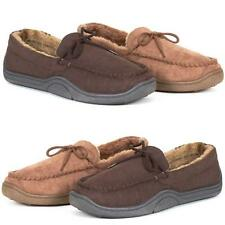 MENS WARM SLIPPERS MOCCASINS LOAFERS FAUX SUEDE SHEEPSKIN FUR LINED SHOES SIZE