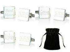 SILVER SQUARE mens shirt wedding cufflinks cuff link Groom best man usher gift