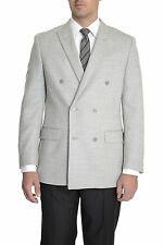 Tasso Elba Classic Fit Gray Twill Double Breasted Wool Blazer Sportcoat