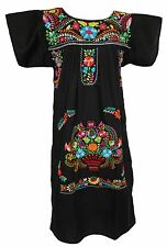 BLACK Embroidered Mexican Dress Vintage Tunic Peasant S M L XL XXL PLUS SIZE