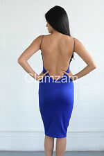 New Womens Ladies Low Back Midi Bodycon Strappy Pencil Party Blue Backless Dress