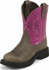 """Justin Gypsy Womens 8"""" Round Toe Western Boots Castle Brown Cowhide Medium L9926"""