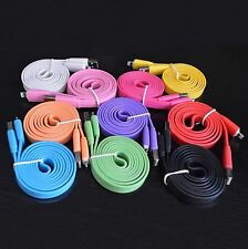 6Ft/10FT Flat Noodle Cable Data Sync Charger Cord for iPhone 5 5S 5C