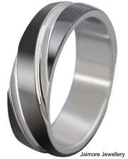 Stainless Steel Band Silver / Black IP Mens Commitment Wedding Ring Size US 10