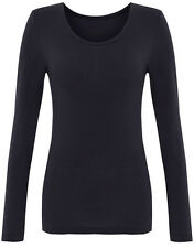 M&S NEW BLACK WOMENS LADIES HEATGEN THERMAL T SHIRT WINTER SKI TOP 8-22 RRP £15