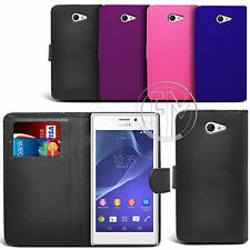 BOOK WALLET PU LEATHER CASE COVER POUCH FOR SONY XPERIA M2