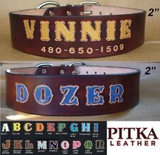 Dog Collar with Name - Custom Dog Collars for Pitbulls - D. Brown Dog Collars