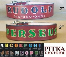 Brown Leather Dog Collar - Handmade Leather Dog Collars - XXL Name Dog Collar