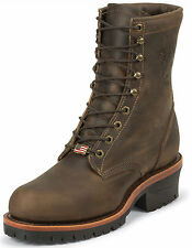 Men's Chippewa USA Made Work Boot Lace-Up Logger EH Steel Toe Brown 20091 (D, M)