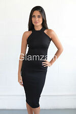 New Womens Ladies Sleeveless Pencil Midi Bodycon Strappy Backless black Dress