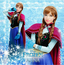 Frozen Princess Anna  Blue Dress Adult  Girl's  Costume Deluxe Dress with Cope
