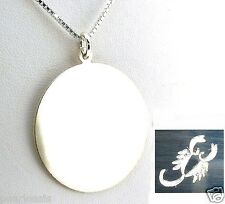 "21MM Wide Engraved Horoscope Zodiac Sign Pendant w/20"" Chain, 925 Silver, NEW"
