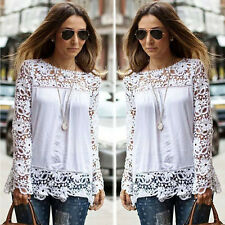 1PC Women Sheer Sleeve Embroidery Lace Crochet Tee Chiffon Shirt Blouse Fashion