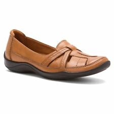 Clarks KESSA GIFFORD Womens Cognac Leather Comfort Slip On Casual Shoes