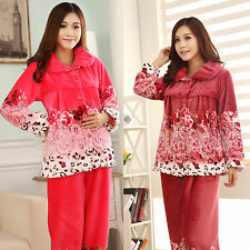 Winter Warm Flannel Long Sleeve Thickened Flower Pregnant Women's Pajamas Set