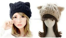 Women Winter Cute Crochet Cat Ears Beanie Plain Hat Knitted Hats Cap Black Beige