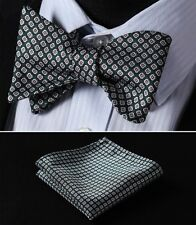 BF116G Green Brown Floral Men Woven Silk Self Bow Tie Pocket Square Set