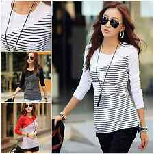 Casual Women Long Sleeve Striped Round Neck Tops Office Blouse T-shirt Basic Tee
