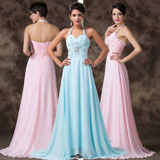 NEW ARRIVAL~ LONG Halter Chiffon Cocktail Gowns Evening Prom Party Wedding Dress