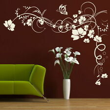 CORNER FLOWER WALL STICKER interior home floral transfers vinyl decal decor Ne21