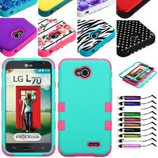 For New Boost Mobile LG Realm LS620 Heavy Duty Hard Hybrid Case Cover + Pen