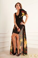 Unusual design dress by Roberto Cavalli!With floral trail!